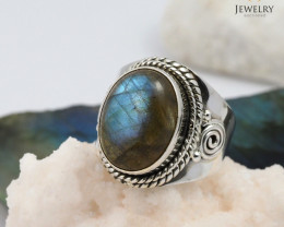 High Domed flash labradorite silver ring    WS 400