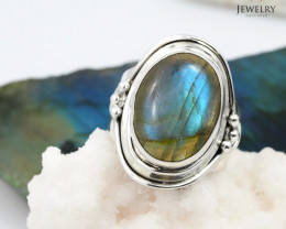 High Domed flash labradorite silver ring    WS 401