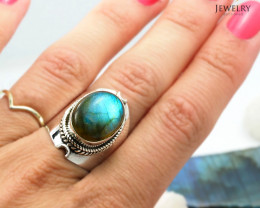 High Domed flash labradorite silver ring    WS 402