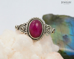 Beautiful Cabochon Ruby set in silver ring WS 411