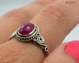 Cabochon Ruby set in silver ring WS 413