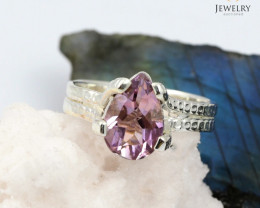 Faceted Gem amethyst  silver ring WS414