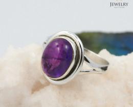 Cabochon  Gem amethyst  silver ring  WS417