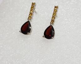 Garnet 925 Sterling silver earring #7752