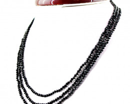 Faceted Black Spinel Beads 3 Lines Necklace