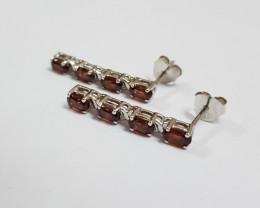 Garnet 925 Sterling silver earrings #7756