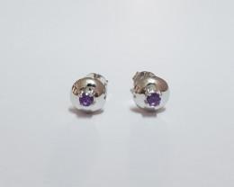Amethyst 925 Sterling silver earrings #7765