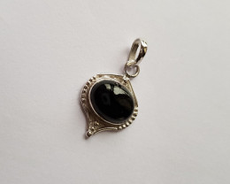 Black Onyx 925 Sterling silver Pendant #34148