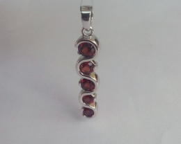 Garnet 925 Sterling silver pendant #34285