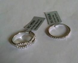 White topaz 925 Sterling silver ring set #9516
