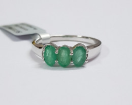 Emerald 925 Sterling silver ring #9963