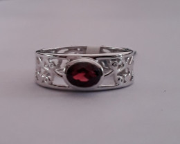 Garnet 925 Sterling silver ring #043