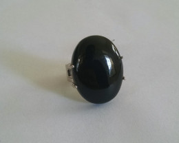 Massive Black onyx Sterling silver ring #294