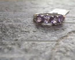 Amethyst trillion 925 Sterling silver ring #422