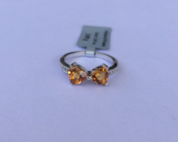 Citrine 925 Sterling silver ring #563