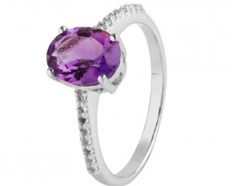 Amethyst 925 Sterling silver ring #651