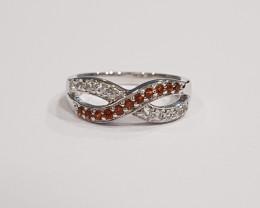 Garnet 925 Sterling silver ring #9516