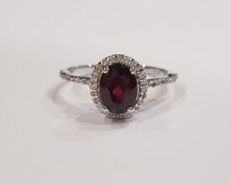 Garnet 925 Sterling silver ring #9525