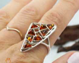 Baltic Amber Sale, SilverRing  , direct from Poland  AM 420