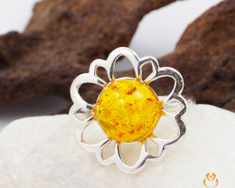 Baltic Amber Sale, Silver Ring  , direct from Poland  AM 424