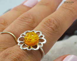 Baltic Amber Sale, SilverRing  , direct from Poland  AM 425