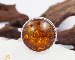 Baltic Amber Sale, SilverRing  , direct from Poland  AM 428