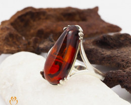Cherry Baltic Amber Sale, SilverRing  , direct from Poland  AM 429