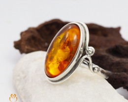 Baltic Amber Sale, SilverRing  , direct from Poland  AM 432