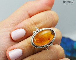 Baltic Amber Sale, SilverRing  , direct from Poland  AM 433