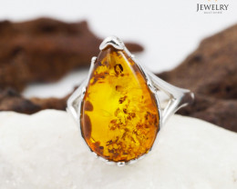 Baltic Amber Sale, SilverRing  , direct from Poland  AM 434