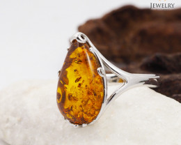 Baltic Amber Sale, SilverRing  , direct from Poland  AM 435