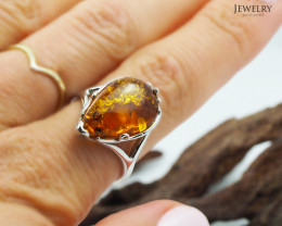 Baltic Amber Sale, SilverRing  , direct from Poland  AM 436