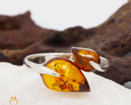 Dual Baltic Amber Sale, SilverRing  , direct from Poland  AM 439