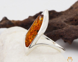 Baltic Amber Sale, SilverRing  , direct from Poland  AM 442