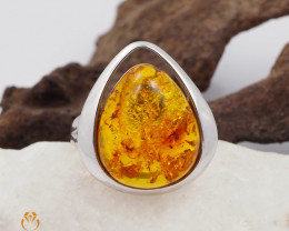 Baltic Amber Sale, SilverRing  , direct from Poland  AM 443