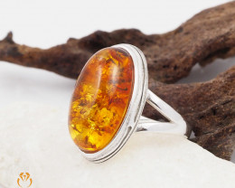 Baltic Amber Sale, SilverRing  , direct from Poland  AM 445