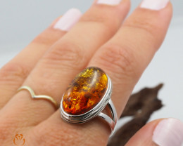 Baltic Amber Sale, SilverRing  , direct from Poland  AM 446
