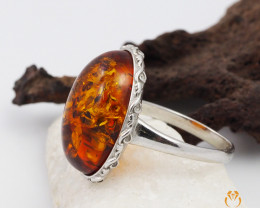 Baltic Amber Sale, SilverRing  , direct from Poland  AM 452