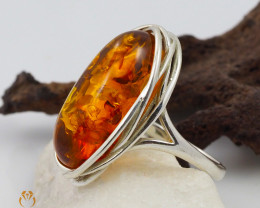 Baltic Amber Sale, SilverRing  , direct from Poland  AM 453