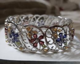Multi gem 925 Sterling silver Bangle #37706