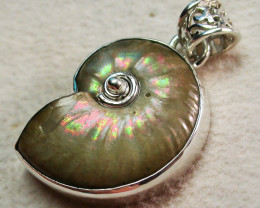 39.00CTS IRREDESENT AMMONITE PENDANT-FACTORY DIRECT [SJ1783]