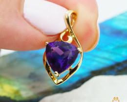 14 K Yellow Gold Amethyst & Diamond Pendant A P11600 1100
