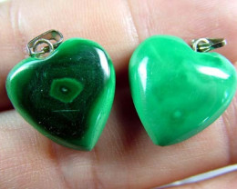 MALACHITE HEART PENDANT PAIR 39 CTS [SJ2867]