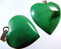 MALACHITE HEART PENDANT PAIR 30.5 CTS [SJ2864]