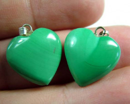 MALACHITE HEART PENDANT PAIR 30 CTS [SJ2862]