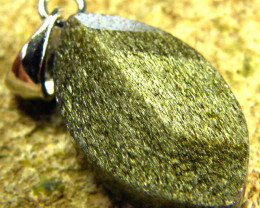 SHIMMERING PYRITE SILVER PENDANT 6.15 CTS [SJ436]