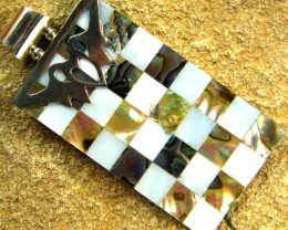 INLAYED MOTHER OF PEARL SILVER PENDANT 42.00 CTS [SJ311]
