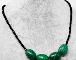 Genuine 140.00 Cts Green Jade & Black Spinel Carved Beads Necklace
