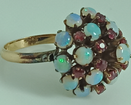 14ct Rose Gold Natural Ruby & Opal Ring