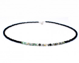 Genuine 40.00 Cts Peruvian Opal & Black Spinel Faceted Beads Necklace